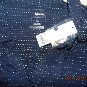 Sonoma Tops - NWT Sonoma Blue w/Cream Polka Dots Top